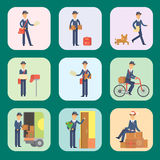 Postman delivery man cards character vector courier occupation carrier cute male package transportation. Set of cards with postman delivery man character vector Stock Photos