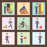 Postman delivery man cards character vector courier occupation carrier cute male package transportation. Set of cards with postman delivery man character vector Royalty Free Stock Photos