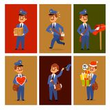 Postman delivery man character vector cards courier occupation carrier package mail shipping deliver professional people. Postman delivery man character vector Royalty Free Stock Photos