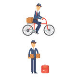 Postman delivery man character vector courier occupation carrier cute male package transportation. Set of postman delivery man character vector courier Stock Images