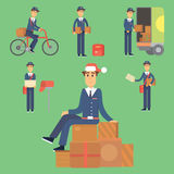 Postman delivery man character vector courier occupation carrier cute male package transportation. Royalty Free Stock Images