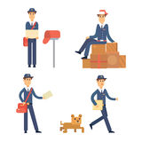 Postman delivery man character vector courier occupation carrier cute male package transportation. Stock Photography