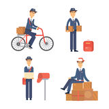 Postman delivery man character vector courier occupation carrier cute male package transportation. Royalty Free Stock Photography