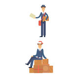 Postman delivery man character vector courier occupation carrier cute male package transportation. Set of postman delivery man character vector courier Stock Photography