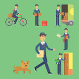 Postman delivery man character vector courier occupation carrier cute male package transportation. Set of postman delivery man character vector courier Royalty Free Stock Photo