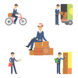 Postman delivery man character vector courier occupation carrier cute male package transportation. Set of postman delivery man character vector courier Royalty Free Stock Photos