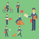 Postman delivery man character vector courier occupation carrier cute male package transportation. Set of postman delivery man character vector courier Royalty Free Stock Photography