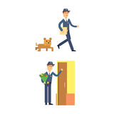 Postman delivery man character vector courier occupation carrier cute male package transportation. Royalty Free Stock Photo