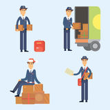 Postman delivery man character vector courier occupation carrier cute male package transportation. Set of postman delivery man character vector courier Royalty Free Stock Image