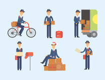 Postman delivery man character vector courier occupation carrier cute male package transportation. Set of postman delivery man character vector courier Stock Photo