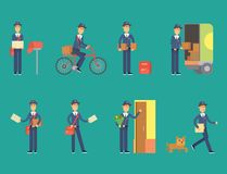 Postman delivery man character vector courier occupation carrier cute male package transportation. Set of postman delivery man character vector courier Royalty Free Stock Images