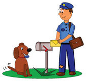 Postman and dog Stock Photo