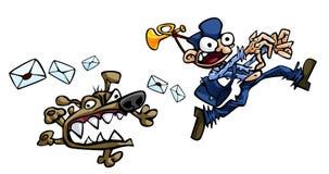 Postman and dog. Hand drawn illustration of a running postman Stock Photos