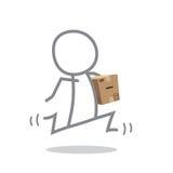 Postman. Doodle postman delivering a parcel Stock Photos