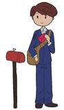 Postman. Doodle style image of a young mailman Royalty Free Stock Photography