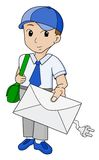 Postman with email. Cartoon postman with email on white Royalty Free Stock Images