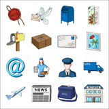 Postman, envelope, mail box and other attributes of postal service.Mail and postman set collection icons in cartoon Royalty Free Stock Images