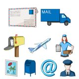 Mail and postman set collection icons in cartoon Stock Photo