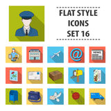 Postman, envelope, mail box and other attributes of postal service.Mail and postman set collection icons in flat style Stock Photography