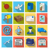 Postman, envelope, mail box and other attributes of postal service.Mail and postman set collection icons in flat style Stock Images