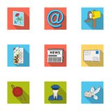 Postman, envelope, mail box and other attributes of postal service.Mail and postman set collection icons in flat style Stock Image