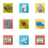 Postman, envelope, mail box and other attributes of postal service.Mail and postman set collection icons in flat style Royalty Free Stock Image
