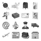 Postman, envelope, mail box and other attributes of postal service.Mail and postman set collection icons in monochrome Stock Photo