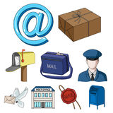 Mail and postman set collection icons in cartoon Stock Images