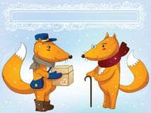 Postman fox and grandfather fox Royalty Free Stock Photography