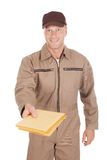Postman Giving Envelopes Over White Background Royalty Free Stock Image