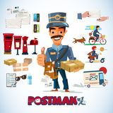 Postman with graphic elements some with typographic for header d. Esign. profession and mail service concept - vector illustration Stock Images