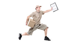 Postman on a hurry delivering package. Isolated on white stock images