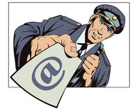 Postman with letter in hand. People in retro style. Stock Photos