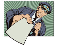 Postman with letter in hand. People in retro style. Stock Photo