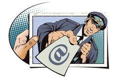 Postman with letter in hand. People in retro style. Stock Images