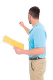 Postman with letter knocking Royalty Free Stock Photo