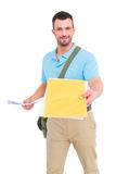 Postman with letter Stock Photo