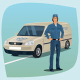 Postman or mail carrier with postal car Royalty Free Stock Photography