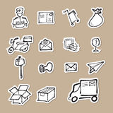Postman and mail drawing icons paper cut Stock Images