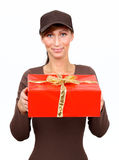 Postman mail presents gifts. Postman delivering christmas presents and gifts Royalty Free Stock Photography