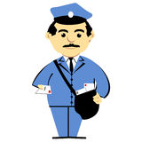 Postman With Mailbag. A clipart illustration of mailman in uniform holding mail stock illustration