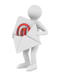 Postman with open envelope. Isolated 3D Royalty Free Stock Image