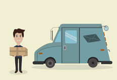 Postman, parcel and truck. Postman with sending and trucks for the delivery of letters Royalty Free Stock Images