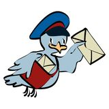 Postman pigeon. Vector illustration with envelope royalty free illustration