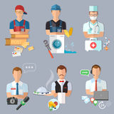 Postman plumber doctor journalist collection professions Stock Photo