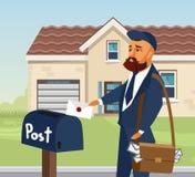 Postman in Professional Uniform Design Element stock illustration