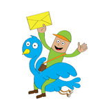 Postman riding bird. A postman sending letters by riding a flying blue bird\r\n\r\nFeatures:\r\n- well layered  file for easy color changes\r\n- saved as an AI10 Stock Images