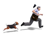 The postman runs from the dangerous dog. 3D Stock Images