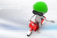 Postman with scooter delivering mail Illustration Royalty Free Stock Photography