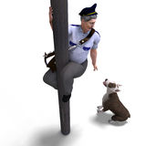 The postman seeks shelter fromt the dog. 3D Royalty Free Stock Photography